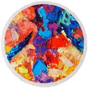 Round Beach Towel featuring the painting The Unknown by Ana Maria Edulescu