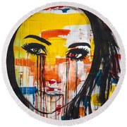 Round Beach Towel featuring the painting The Unseen Emotions Of Her Innocence by Bruce Stanfield