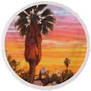 Round Beach Towel featuring the painting The Urban Jungle by Andrew Danielsen