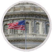 The Us Capitol Building - Washington D.c. Round Beach Towel