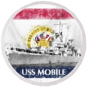 Round Beach Towel featuring the photograph The Uss Mobile by JC Findley