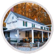 The Valley Green Inn In Autumn Round Beach Towel by Bill Cannon