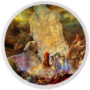 Round Beach Towel featuring the painting The Valley Of Sphinks by Henryk Gorecki