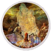 The Valley Of Sphinks Round Beach Towel