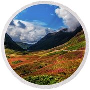 The Valley Of Three Sisters. Glencoe. Scotland Round Beach Towel