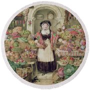 The Vegetable Stall  Round Beach Towel