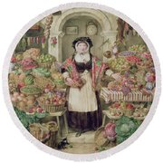 The Vegetable Stall  Round Beach Towel by Thomas Frank Heaphy