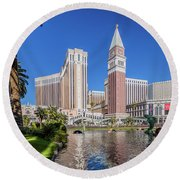 The Venetian In Front Of The Mirage Lagoon Day Portrait Round Beach Towel