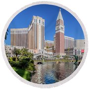 The Venetian In Front Of The Mirage Lagoon In The Afternoon Round Beach Towel by Aloha Art