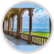 Round Beach Towel featuring the photograph The Veranda by Paul Wear