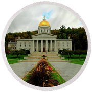 The Vermont State Capital Building Round Beach Towel