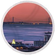 Round Beach Towel featuring the photograph The Verrazano Bridge At Sunrise by Francisco Gomez