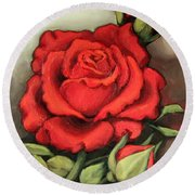 The Very Red Rose Round Beach Towel by Inese Poga