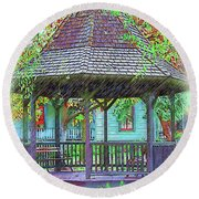 The Victorian Gazebo Sketched Round Beach Towel