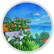 The View From A Window Round Beach Towel