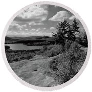 The View From Bald Mountain Round Beach Towel