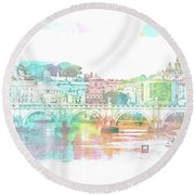 The View From Castel Sant'angelo Towards Ponte Sant'angelo, Brid Round Beach Towel