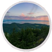 The View From Mt Erie Round Beach Towel