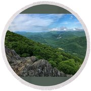 Round Beach Towel featuring the photograph The View From Raven's Roost by Lori Coleman