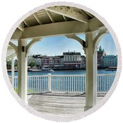 The View From The Boardwalk Gazebo At Disney World Mp Round Beach Towel