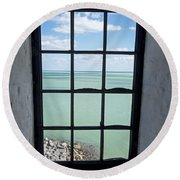 The View From The Lighthouse Window Bill Baggs Lighthouse Key Biscayne Florida Round Beach Towel