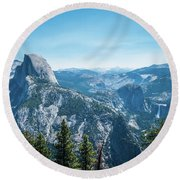 Round Beach Towel featuring the photograph The View- by JD Mims