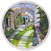 Round Beach Towel featuring the digital art The Villa by Darren Cannell