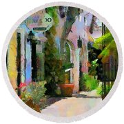Round Beach Towel featuring the painting The Villa by Wayne Pascall