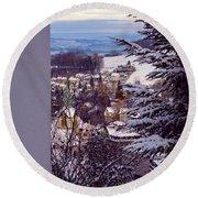 Round Beach Towel featuring the photograph The Village - Winter In Switzerland by Susanne Van Hulst