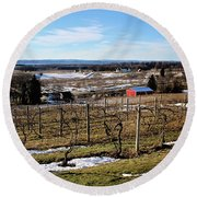 The Vineyard On Old Mission Round Beach Towel