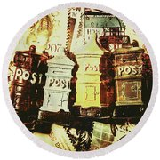 The Vintage Postage Card Round Beach Towel