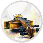 The Violin Round Beach Towel