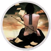 The Violin Song Round Beach Towel