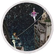 The Violinist And The Dancer Round Beach Towel