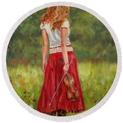 The Violinist Round Beach Towel by David Stribbling