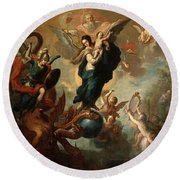 Round Beach Towel featuring the painting The Virgin Of The Apocalypse by Miguel Cabrera