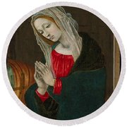 The Virgin Of The Nativity , Workshop Of Filippino Lippi Round Beach Towel