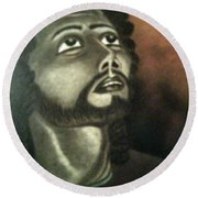 The Vision Of St. Christopher Round Beach Towel