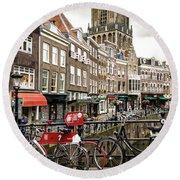 Round Beach Towel featuring the photograph The Vismarkt In Utrecht by RicardMN Photography