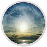 The Voice Of The Lord Is Over The Waters... Round Beach Towel by Sharon Soberon