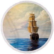 Round Beach Towel featuring the painting The Voyage by Alan Lakin