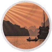 The Voyage Ha Long Bay Vietnam  Round Beach Towel