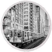 The Wabash L Train In Black And White Round Beach Towel