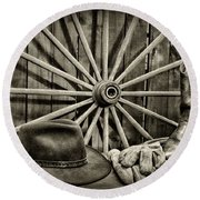 The Wagon Master In Black And White Round Beach Towel