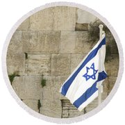 Round Beach Towel featuring the photograph The Wailing Wall And The Flag by Yoel Koskas
