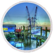 Round Beach Towel featuring the photograph The Waiting Shrimper Tybee Island Dawn Art by Reid Callaway