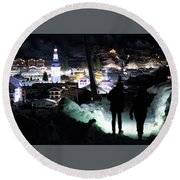 Round Beach Towel featuring the photograph The Walk Into Town- by JD Mims