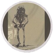 Round Beach Towel featuring the drawing The Walking Dead by Reed Novotny