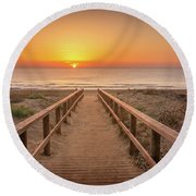 The Walkway To The Sun. Round Beach Towel