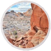 The Wall At Valley Of Fire Round Beach Towel by Ray Mathis